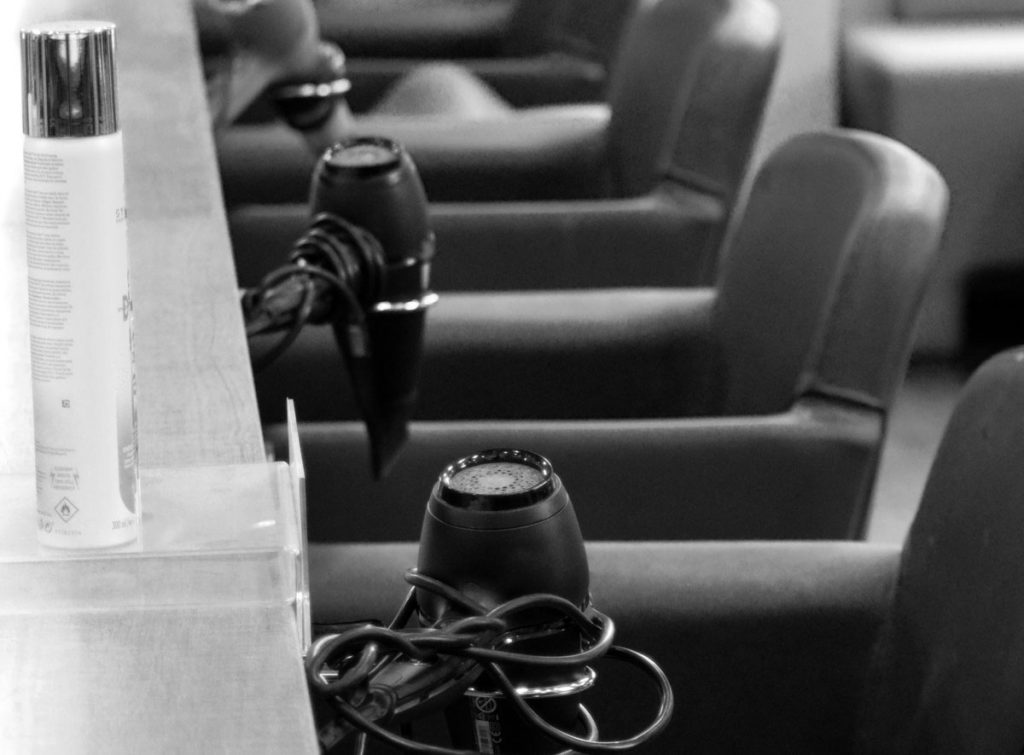 Row of seats in hair salon
