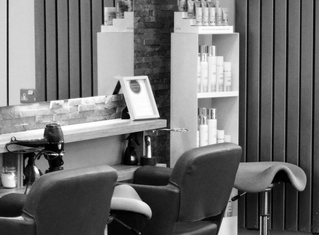 Hair products in a hair salon