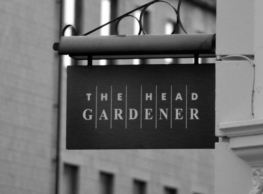 The Head Gardener sign